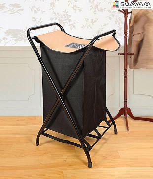 Swayam Black & Beige Laundry Bag Metal Mania