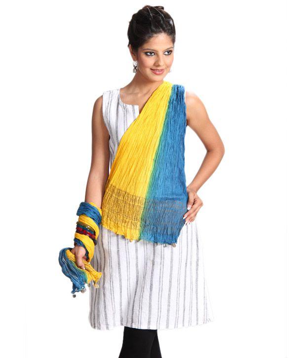 Abhiyuthan Blue & Yellow Crinkle Dupatta