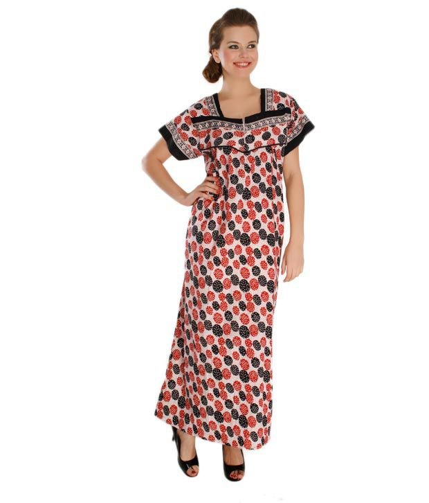 Plums And Peaches Red Black Cotton Nighty