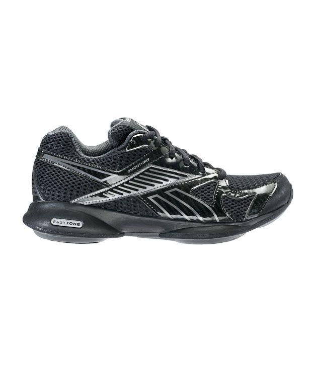 c53b671527fb17 Reebok Easytone Black   Dark Silver Walking Shoes Price in India ...