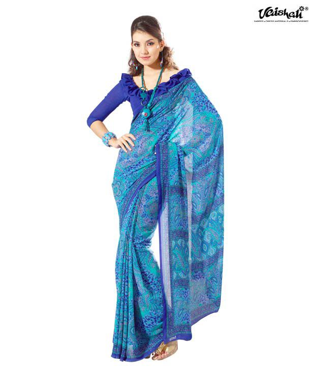 Vaishali Magnificent Sky Blue Crepe Saree With Unstitched Blouse