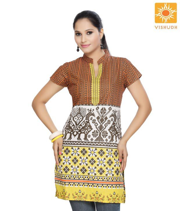 Vishudh Orange Printed Kurti