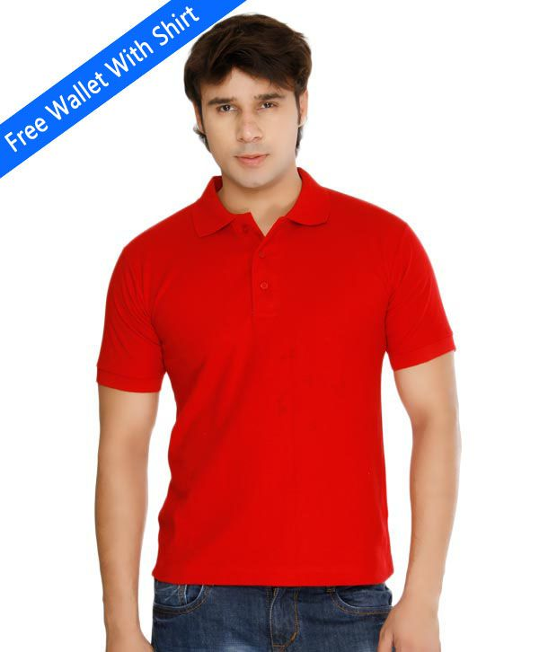 Weardo Plain Red Polo Tee With Freebie Wallet