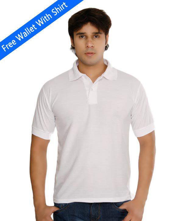 Weardo Plain White Polo Tee With Freebie Wallet