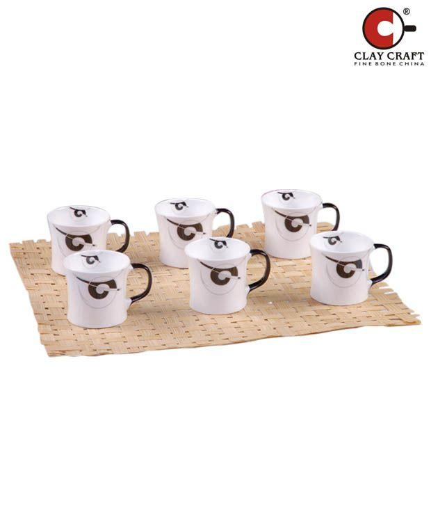 Clay Craft White & Blue Mug Set