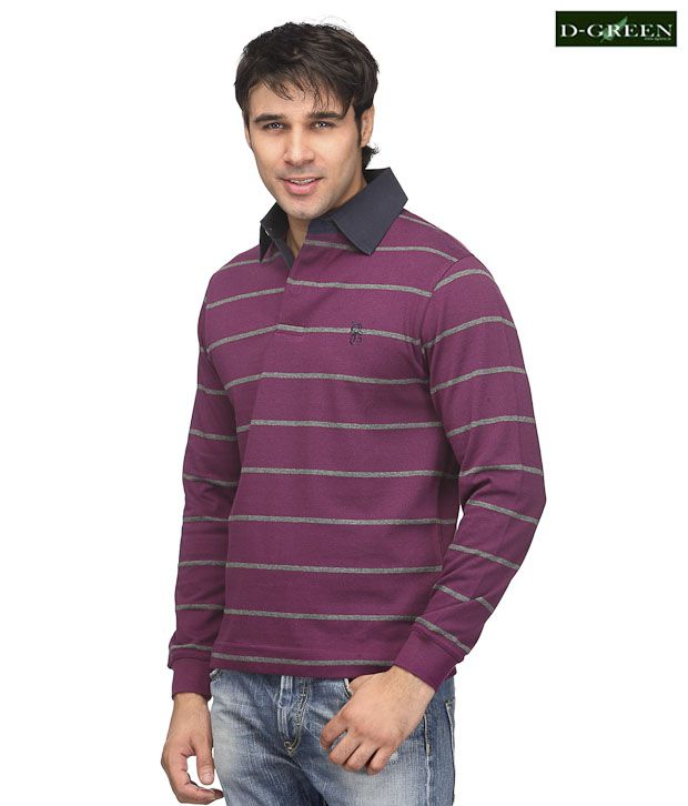 D-Green Classic Wine Stripes Polo T-Shirt