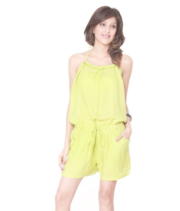 Lieben Mode Chic Lime Green Play Suit