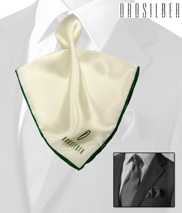 Orosilber Brilliant White-Green Silk Pocket Square