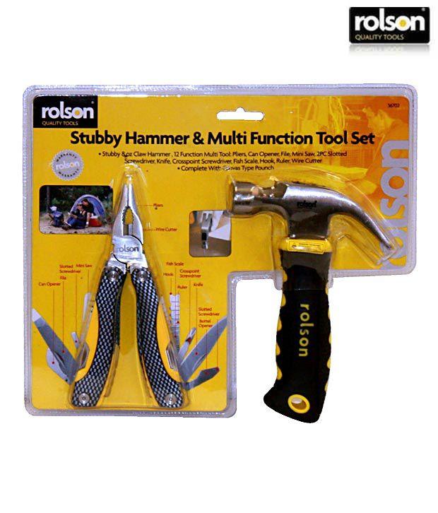 Rolson Stubby Hammer & Multi Function Tool Set