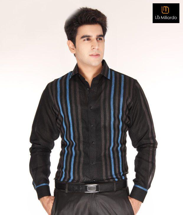 La Miliardo Black-Turquoise Blue Striped Shirt