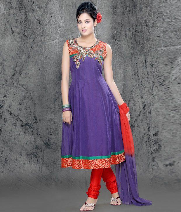 Varja Purple Anarkali Suit With Dupatta