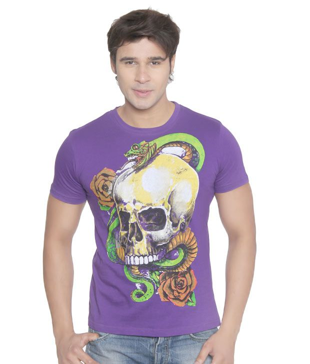 Vvoguish Purple Snake n Skull T-Shirt