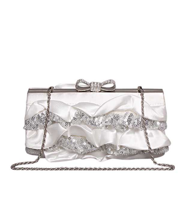 Bolso White Sequins & Frill Clutch