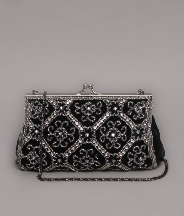 Bolso Black Bead & Crystal Design Clutch