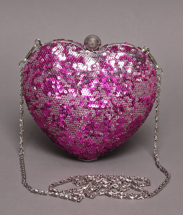 Bolso Purple & Silver Sequins Heart Clutch