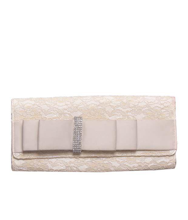 Bolso Cream Crystal Studded Bow & Lace Clutch