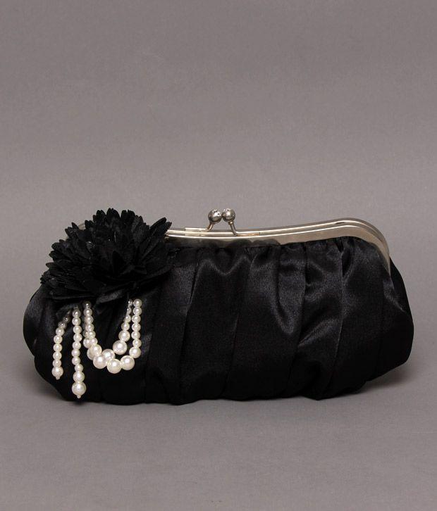 Bolso Elegant Black Corsage Pearl Clutch