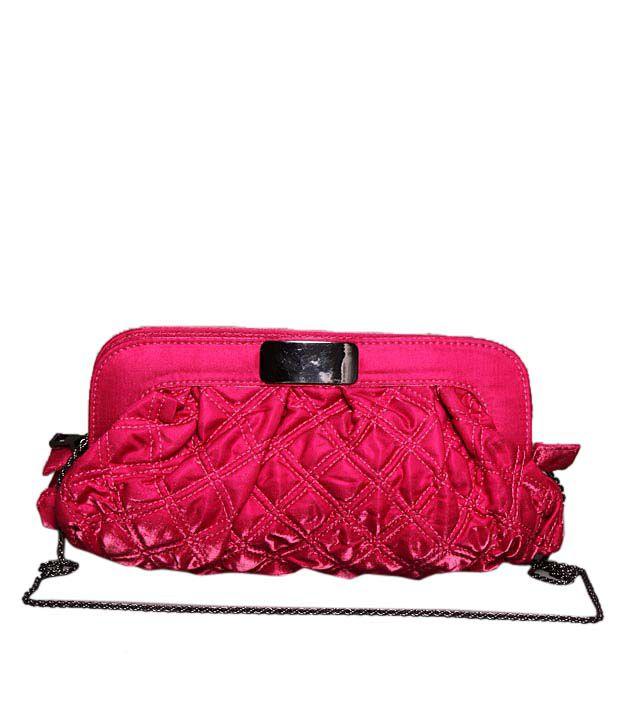 Bolso Ravishing Dark Pink Quilted Velvet Clutch