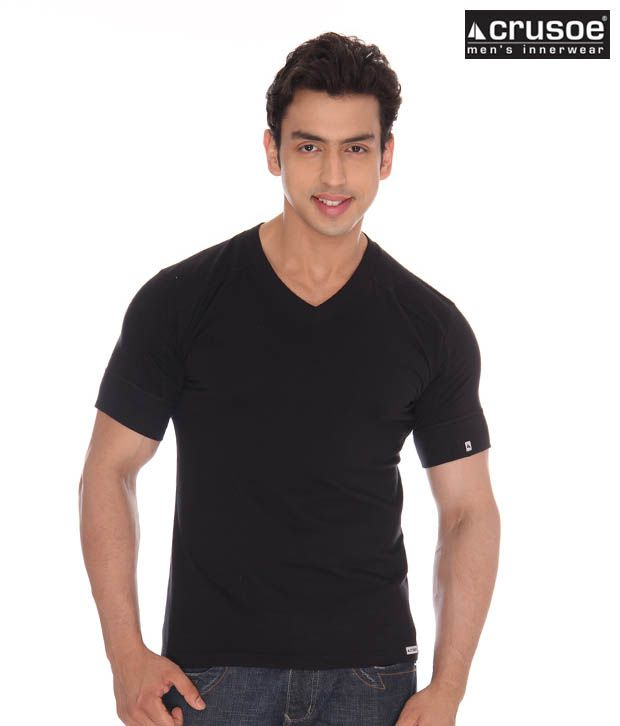 Crusoe Men's Black T-Shirt Pack of 3