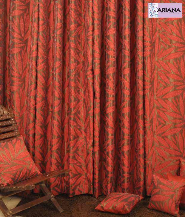 ARIANA MultiLeaf Maroon XL Door Curtains Floral