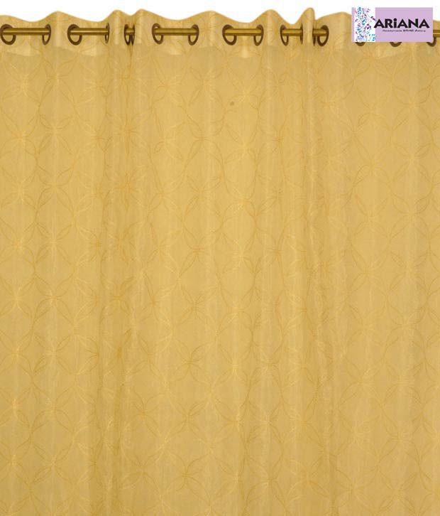 ARIANA Flower Blocks Cream Sheer XL Door Curtains