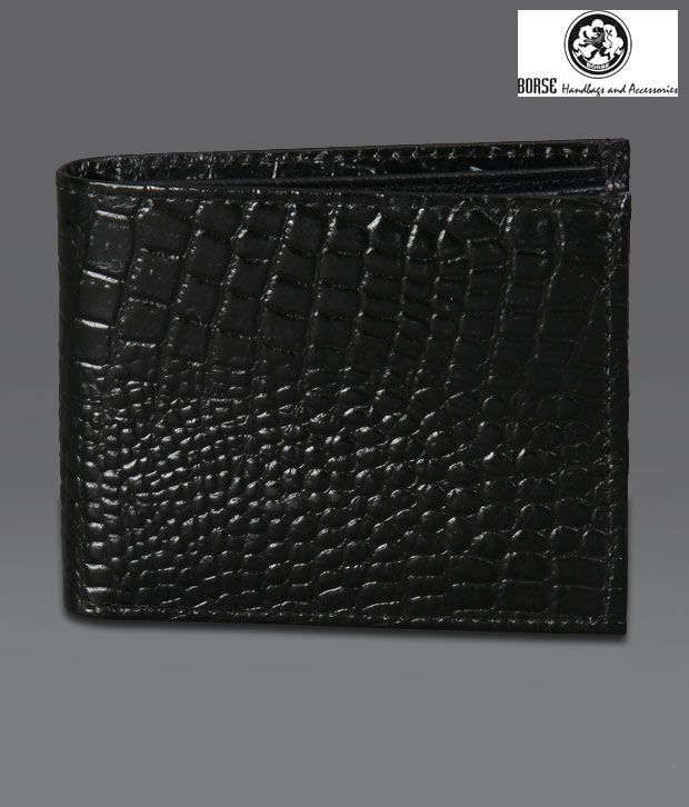 Borse Black Croc Print Shiny Wallet