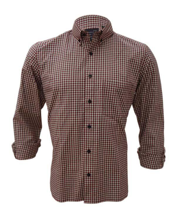 Rigo Maroon Beige Small Checks Casual Shirt