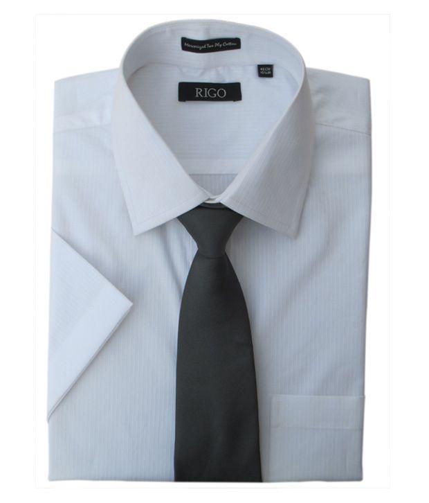Rigo Self Stripes White Dobby Formal Shirt