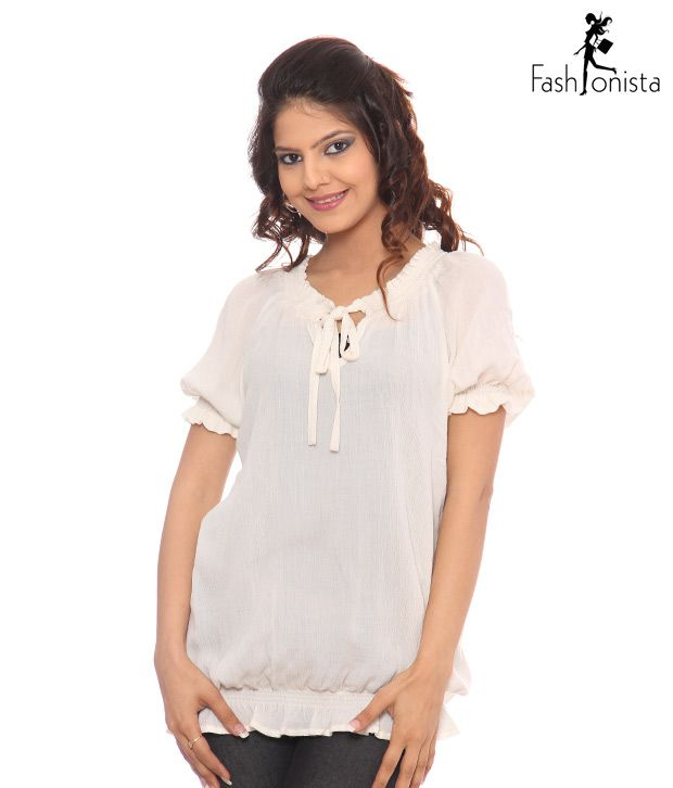 Fashionista Trendy Off White Top