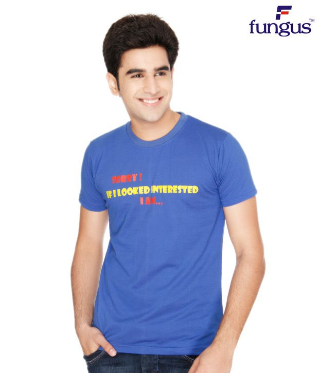 Fungus Blue Calligraphic  Cotton T-Shirt