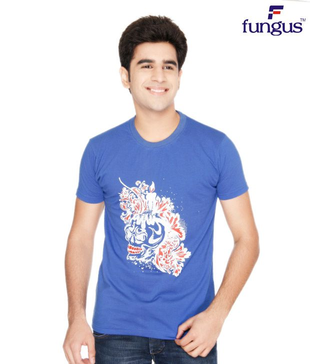 Fungus Blue Abstract  Cotton T-Shirt