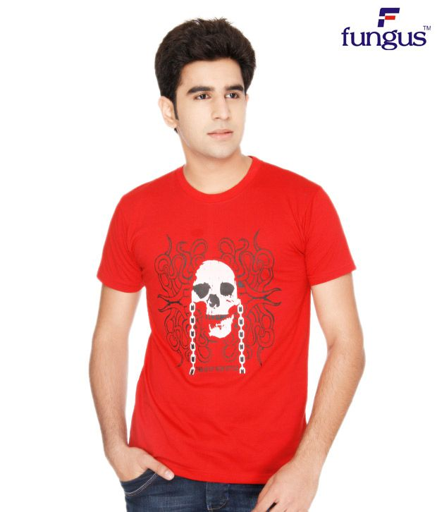 Fungus Red Abstract  Cotton T-Shirt