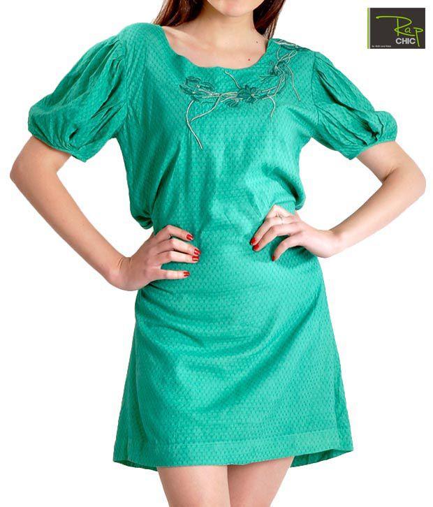 Rap Chic See Green Self Jacquard Dress