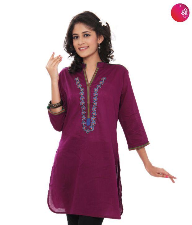 Shree Purple Cotton Kurti (12125B)