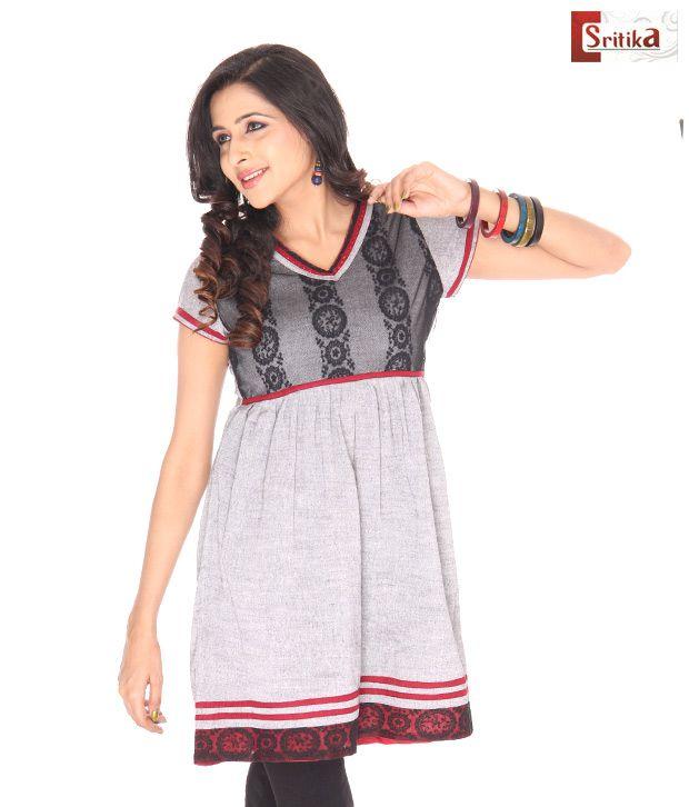 Sritika Black Cotton Printed Kurti