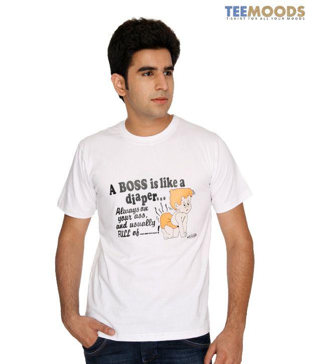 Teemoods White Calligraphic T-Shirt