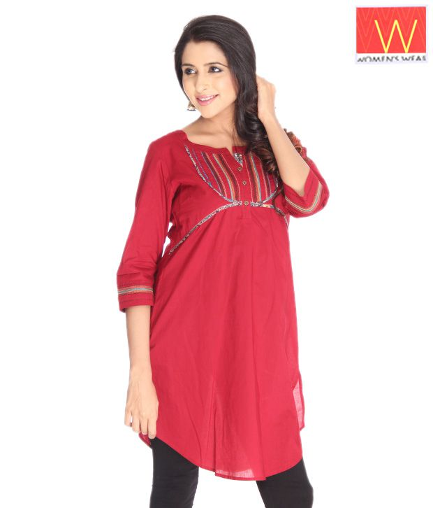 W Red Ethnic Kurta
