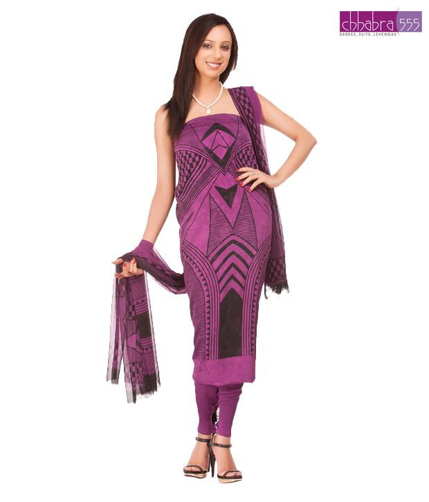 Chhabra 555 Tasteful Bright Violet Suit Dupatta Unstitched