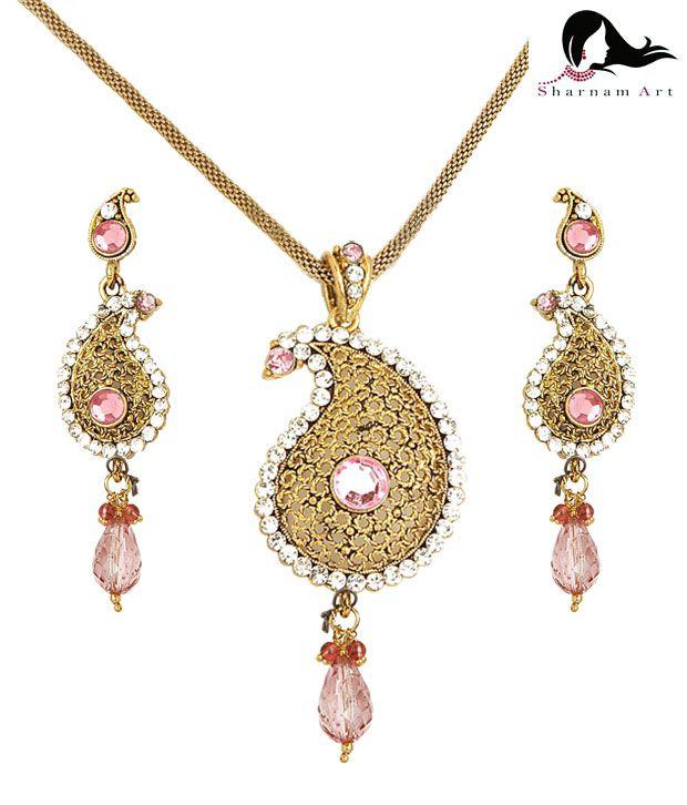 Sharnam Arts Pretty Pink & Golden Paisley Necklace Set