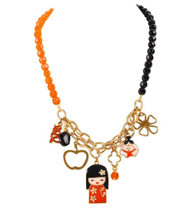Embellish Orange & Black Beads Chinese Charm Necklace