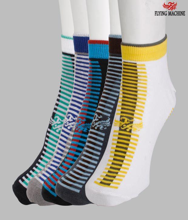 Flying Machine Stripped Pattern Socks