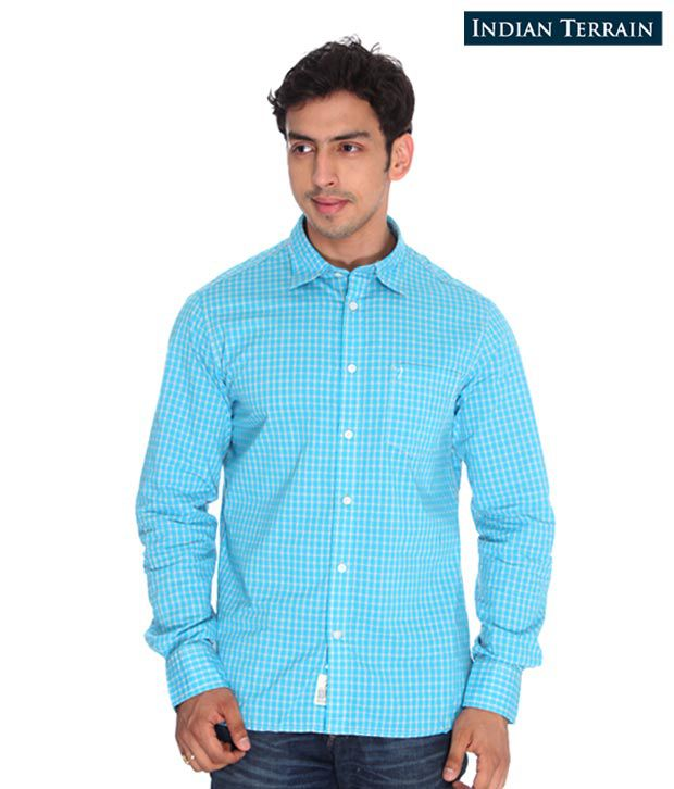 Indian Terrain Blue Checkered Shirt