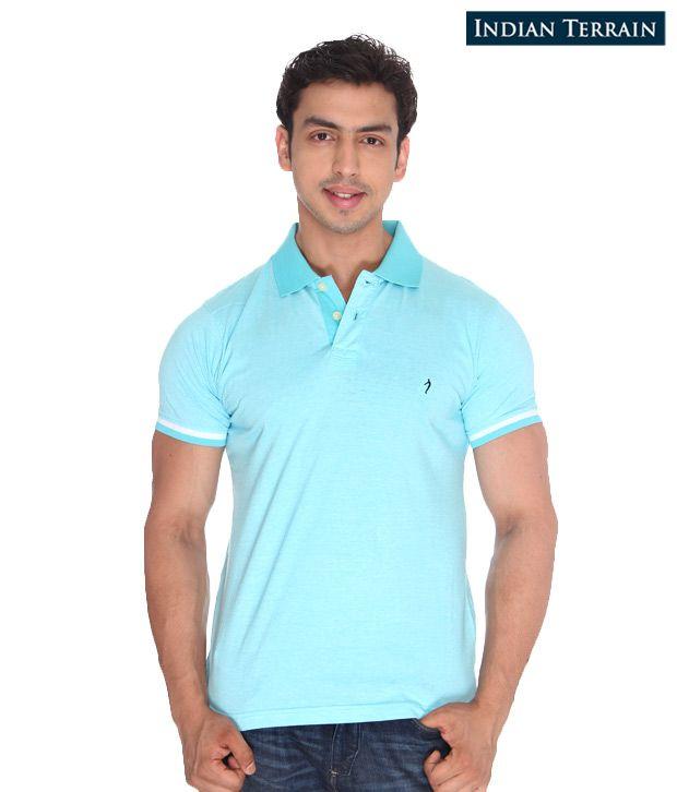 Indian Terrain Aqua Blue T-Shirt