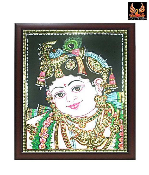 Live The Art Cute Tanjore Painting Of Lord Krishna