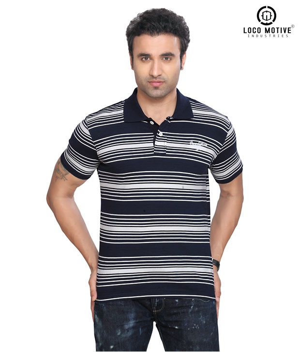 Locomotive Casual Navy Blue T Shirt