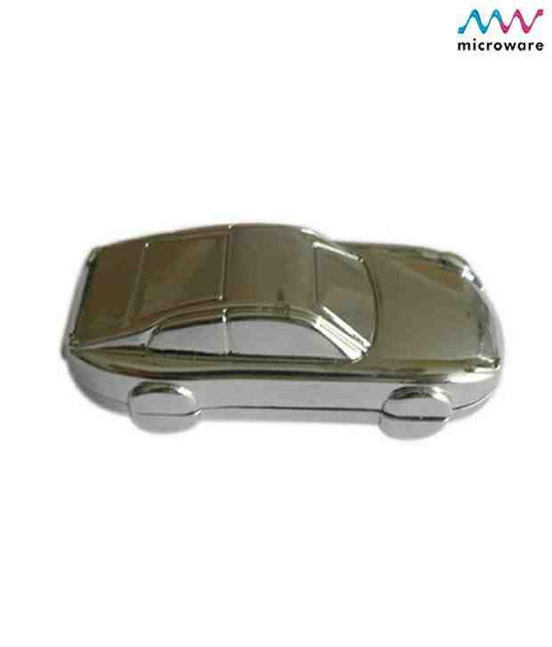 Microware Car Shape Metal Jewellery Designer Pen Drive 4 GB (Silver Steel)