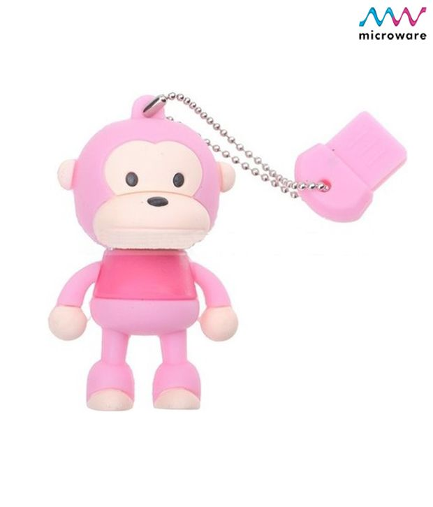 Microware Monkey Pink Shape Designer 4 GB Pendrive (Pink)