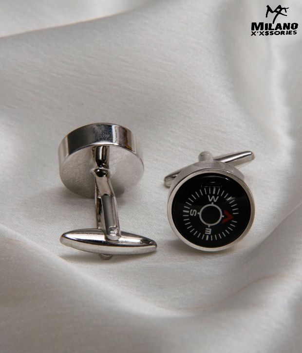 Milano X'xssories Chrome With Compass Cufflinks