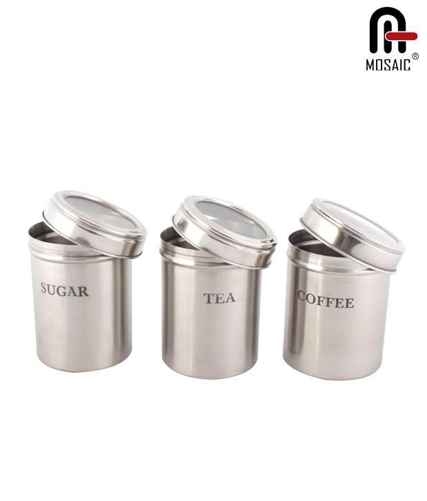 mosaic stainless steel canister set of 3 buy online at best price in india snapdeal. Black Bedroom Furniture Sets. Home Design Ideas