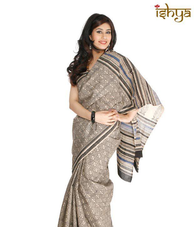 Ishya Black Cotton Bagru Printed Saree